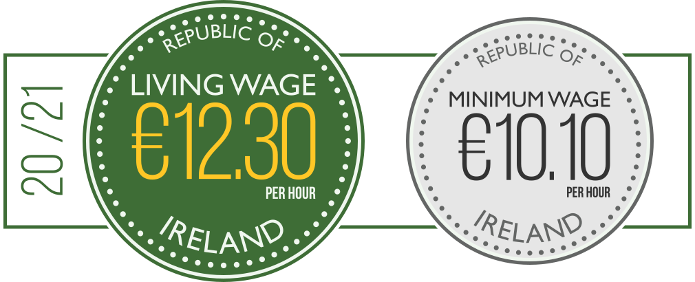Living Wage rate - €12.30 per hour